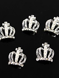 10pcs Glitter Rhinestone Pearl Queen's Holy Crown 3D Alloy Nail Art Decoration