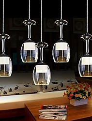 400mm Round Dining RoomPendant Lights 5 Lights Metal Electroplated Acrylic