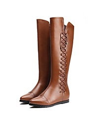 Women's Shoes Riding Boots Flat Heel Leather Knee High Boots More Colors available