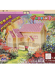 DIY Handmade Wooden House Pattern Music Box Toys