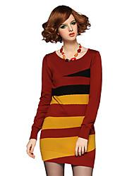 vestido de las mujeres fseam contraste de color raya de la manga larga de cuello redondo de lana