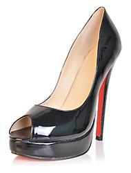 bc reifen schwarzem Lackleder Frauen 15cm Pumpenabsatz Peep Toe Schuhe
