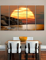 Stretched Canvas Art Coast Sunset Landscape Painting Set of 5