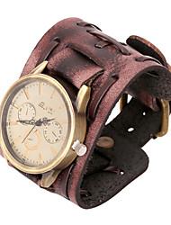 20cm de montres bracelet en cuir brun en cuir de mode pour hommes (brun) (1 pc)