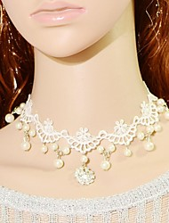 Women's Choker Necklaces Collar Necklace Vintage Necklaces Statement Necklaces Pearl Lace Bridal Fashion Jewelry Wedding Party 1pc