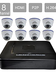 8 Channel HDMI CCTV DVR 8 Indoor Vision Security Camera System Kit 808CCW08V