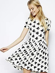 Women's Round Neck Short Sleeve Preppy Bouffant Dress