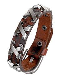 классическая буква х 20 см мужской черный, коричневый кожаный кожаный браслет (черный, коричневый) (1 шт) ювелирные изделия