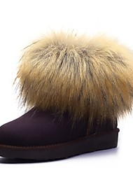 Buyiniao Women's Fox Fur Nubuck Leather Ankle Snow Boots