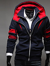 contraste hoodie vaina de color abrigo de Fengge hombres