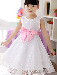 Girl's White Flower Print Organza Big Swing Bow Tie Wedding Pageant Bridesmaid Princess Dresses