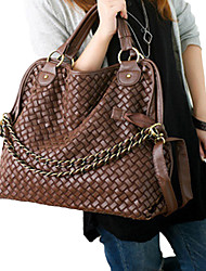 Lady Fashion Weave PU Leather Shoulder Bag/Crossbody Bag(Coffee)