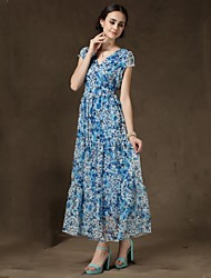 Women's Beach Swing Dress,Print V Neck Midi Sleeveless Blue Summer