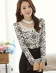 Women's Korean Plus Size Pearls Sheath Chiffon  Long Sleeve T Shirt