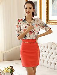 RuiHan  Korean Style Chiffon Large Size Loose Print Long Sleeve Shirt_Screen Color