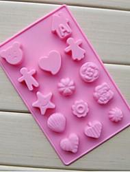 14 trous de moules à chocolat garçon et une fille forme gâteau glace gelée, silicone 20 × 13 × 1,5 cm (7,9 x 5,1 x 0,6 pouces)