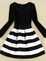 MiLi Slim Round Collar Stripes Long Sleeve Dress _39