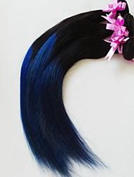 Grade 5a 20-Zoll-3pcs / lot Klasse 5a brazilian ombre Haar silk gerade Haarverlängerungen / webt (1b / blau)
