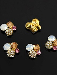 10pcs   Golden Alloy Square Crystal Round 3D Rhinestone DIY Accessories Nail Art Decoration