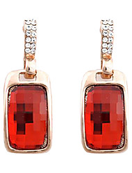 Stud Earrings Gemstone Alloy Fashion Red Jewelry 2pcs