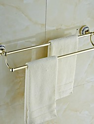 Ceramic Brass Golden Ti-PVD Double Towel Bar
