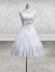 Sleeveless Knee-length White Cotton Classic Lolita Dress