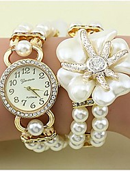 Women's Fashion Crystal Pearl Flower Shape Weaving Bracelet Watch(Assorted Colors)