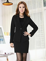 Women's Lapel Solid Color Slim Temperament Long Sleeve Professional Suit (Blazer+Skirts)
