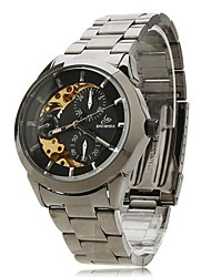 Men's Skeleton Dial Steel Band Automatic Self Wind Wrist Watch (Assorted Colors)