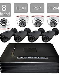 8-канальный HDMI видеонаблюдения DVR 8 открытый / закрытый безопасности системы камеры видение комплект f276 + 8605h08v