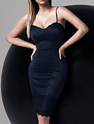 longitud de encaje rodilla adornos cami bodycon de la mujer sexy vestido