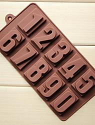10 trous de moules à chocolat gâteau en forme de nombre glace gelée, silicone 22 × 11,2 × 2 cm (8,7 x 4,4 x 0,8 pouces)
