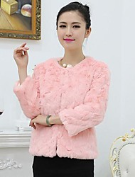 Fashion 3/4 Sleeve Collarless Faux Fur Party/Casual Jacket (More Colors)