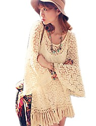 Vintage Hippie Boho Bell Sleves Gypsy Festival Fringe Women Lace Mini Dress White Top Blouse