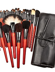30PCS Top-grade Red Wooden Handle Makeup Brush Set with Black Pouch
