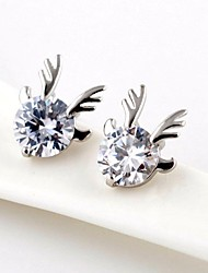 Brass With Cubic Zirconia Stud Earrings(More Colors)