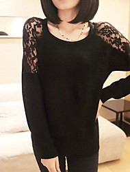 Women's Black/Pink/White Pullover , Sexy/Casual/Lace Long Sleeve