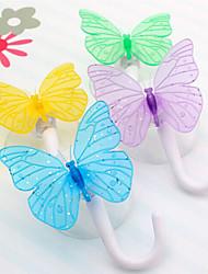 "Butterfly Design Multifunctional Decorative Hook,W7.2""xL1"",Set of 2,Random Color"