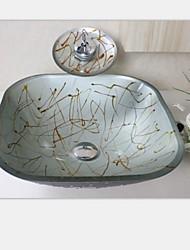Серебряный квадрат раковина закаленное стеклянный сосуд с waterfull набора крана