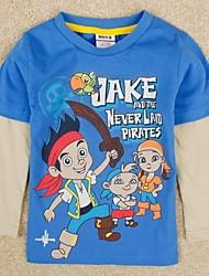 тенниски круглый воротник мультфильм печати с длинным рукавом синий майка дети мальчика тройники случайный печать