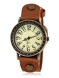 Women's Bronze Case PU Band Quartz Wrist Watch (Assorted Colors)