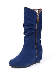 Women's Shoes  Slouch Round Toe Low Heel Suede Mid-Calf Boots with Zipper More Colors available