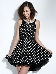 JOANNE KITTEN Women's Going out Sexy Dress Above Knee Sleeveless White / Black Polyester All Seasons