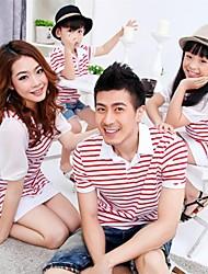 Family's Fashion Stand Collar Stripe Stitching Cotton Puff Sleeve T-shirt & Dress