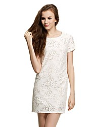 Women's Round Neck Lace Short Sleeve Dress