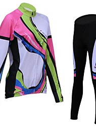 Realtoo Cycling Jersey with Tights Women's Long Sleeve Bike Breathable Thermal / Warm Fleece LiningJersey + Pants/Jersey+Tights Jersey