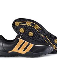 PGM Men's Microfiber Leather+150 MPR Rubber Sole Black+Gold Anti-Slip Golf Shoes