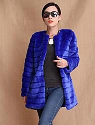 moda manga longa gola de pele falso partido / casaco casuais (mais cores)