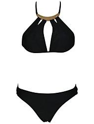 Women's Black Golden Accessorized Halter Bikini