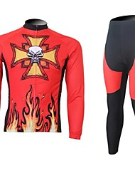 XINTOWN Men's Fire is Phlogistic Skull Quick Dry Moisture Absorption Long Sleeve Cycling Suit—Red+Orange